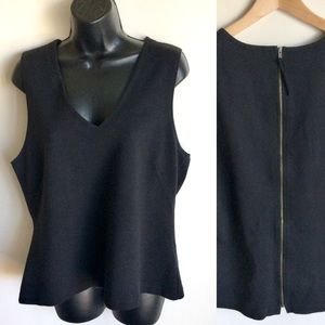 J Crew Black Cotton Sleeveless Top Gold  Zipper XL